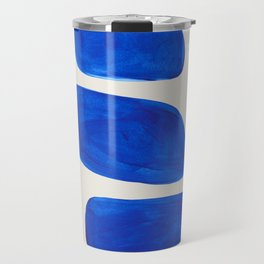 Minimalist Modern Mid Century Colorful Abstract Shapes Phthalo Blue Native Pebbles Stacked Travel Mug