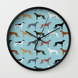 Greyhound Dog pet portrait dog lover must have gifts perfect christmas present for dog person Wall Clock