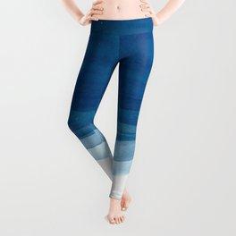 Watercolor blue waves Leggings