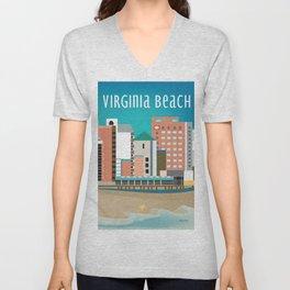 Virginia Beach, Virginia - Skyline Illustration by Loose Petals Unisex V-Neck