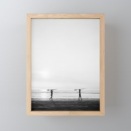 Surfer couple | Wanderlust photography of surfer couple | Coastal wall art. Framed Mini Art Print