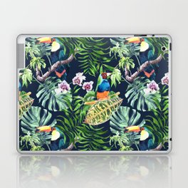 A realistic watercolor seamless large pattern of tropical leaves, flowers and birds Laptop & iPad Skin