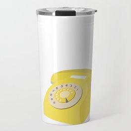 Yellow Vintage Phone // Retro Telephone Illustration Travel Mug
