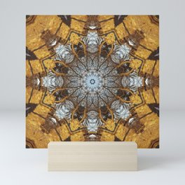 Golden stone, blue sky and arching branches kaleidoscope Mini Art Print