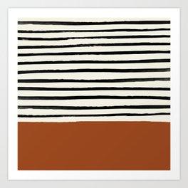 Burnt Orange x Stripes Art Print