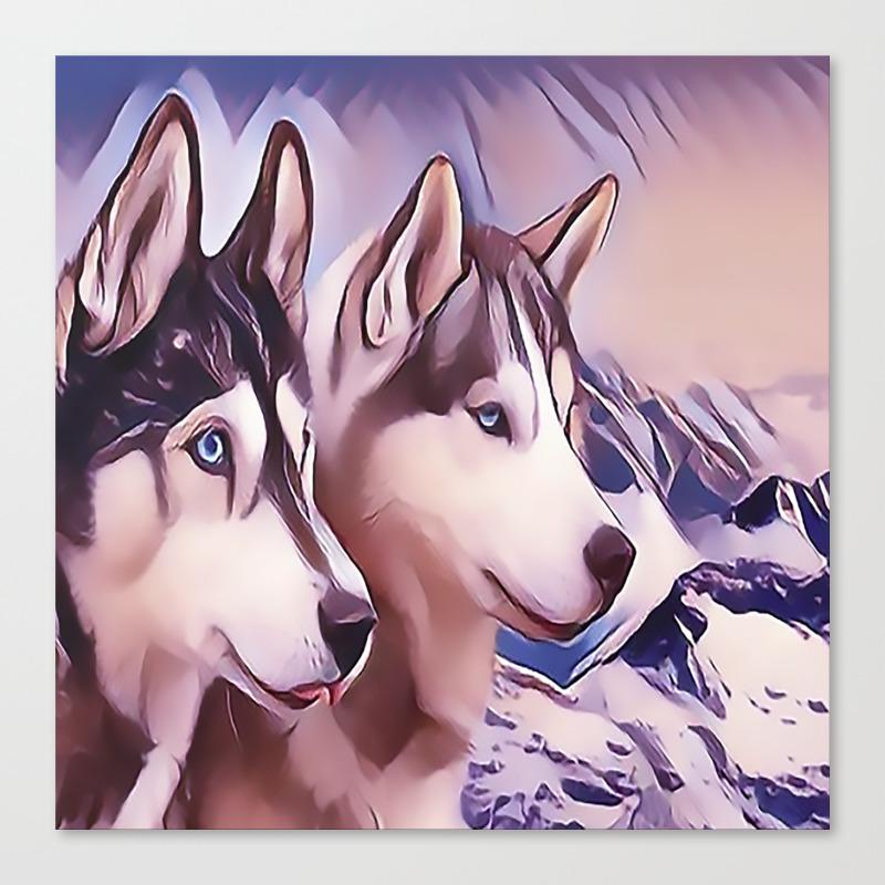 A Pair Of Siberian Huskys Canvas Print by Sunleil CNV8870944