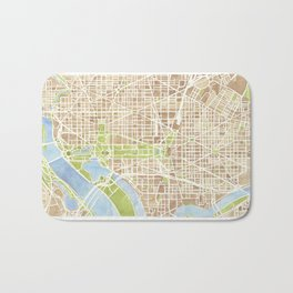 Washington DC watercolor city map Bath Mat