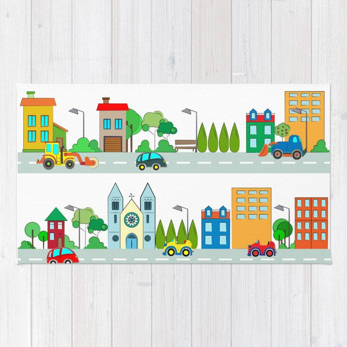 Cars in the town Rug