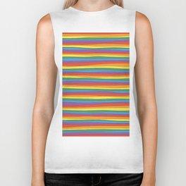 Horizontal Rainbow Stripes Biker Tank