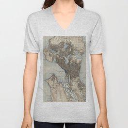 Vintage Map of Seattle Washington (1908) Unisex V-Neck
