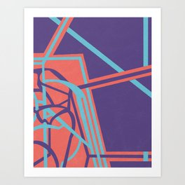 Tangents - Coral, Blue and Violet Hard Edge Abstract Art Print