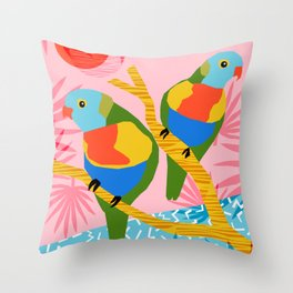 Besties - retro throwback memphis bird art pattern bright neon pop art abstract 1980s 80s style mini Throw Pillow