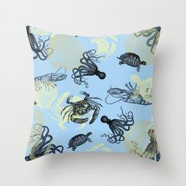 Vintage Sea Creatures Throw Pillow
