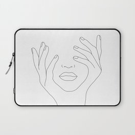 Minimal Line Art Woman with Hands on Face Laptop Sleeve