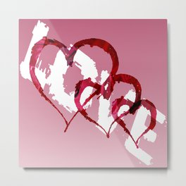 Triple Heart Love Metal Print