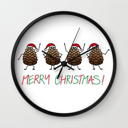 Dancing Christmas Pinecones | Festive | Winter Wonderland | pulps of wood Wall Clock