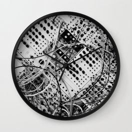 analog synthesizer  - diagonal black and white illustration Wall Clock