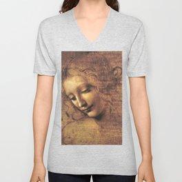 Head of a Woman - Leonardo Da Vinci Unisex V-Neck