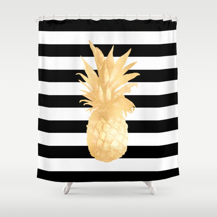 gold and white striped shower curtain. Gold Pineapple Black and White Stripes Shower Curtain by