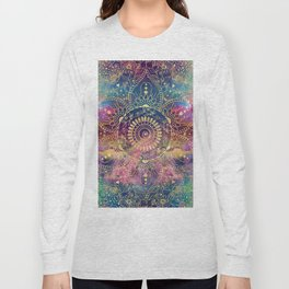 Gold watercolor and nebula mandala Long Sleeve T-shirt
