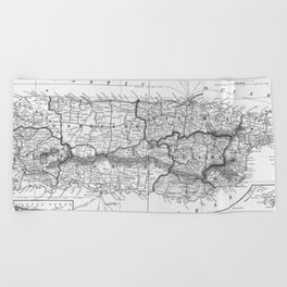 Vintage Map of Puerto Rico (1901) BW Beach Towel