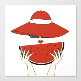 beautiful young woman with red hat, sunglasses and watermelon slice Canvas Print