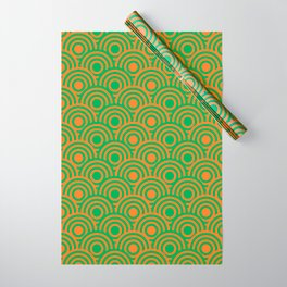 op art pattern retro circles in green and orange Wrapping Paper