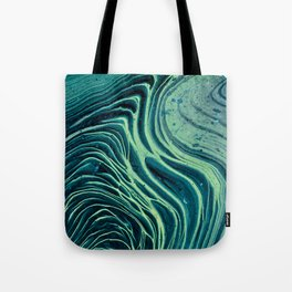 Lagoon Acrylic Tree Ring Pour Painting Tote Bag