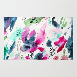Floral abstraction #2 || watercolor Rug