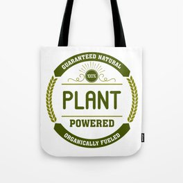 100% Plant Powered & Organically Fueled Green Badge Tote Bag