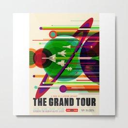 NASA Space Saturn Shuttle Retro Poster Futuristic Explorer Metal Print
