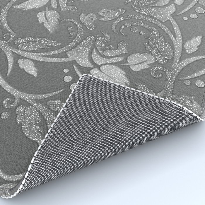 chic faux silver glitter floral Rug