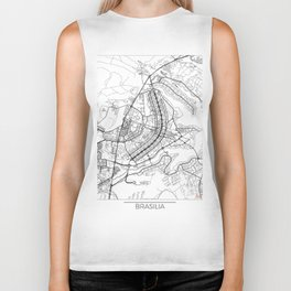 Brasilia Map White Biker Tank