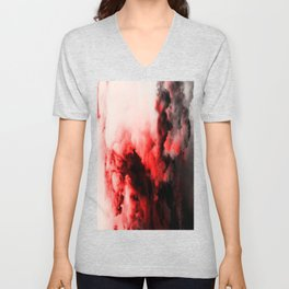 In Pain - Red And Black Abstract Unisex V-Neck