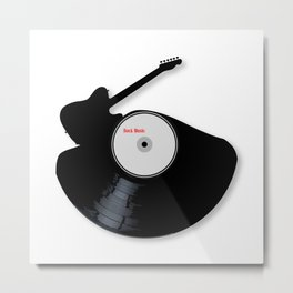 Rock Music Silhouette Record Metal Print