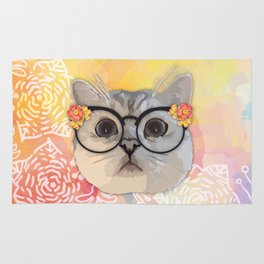 Cat with flower glasses Rug