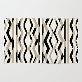 Abstract Cream Brown Black Geometric Pattern Rug