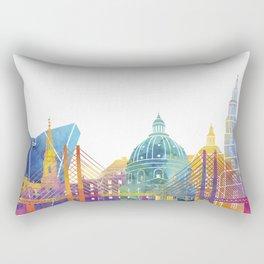 Copenhagen landmarks watercolor poster Rectangular Pillow
