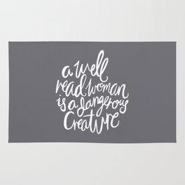 Well Read Woman - Nerd Girl Feminist Quote - White Grey Rug