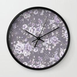 VINTAGE FLORAL MAUVE ROSES PATTERN DARK Wall Clock