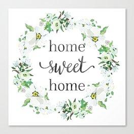 Home Sweet Home Floral Wreath Canvas Print