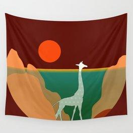 Giraffe Aquatic Scene Wall Tapestry