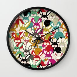 Colored  Easter bunny seamless pattern Wall Clock