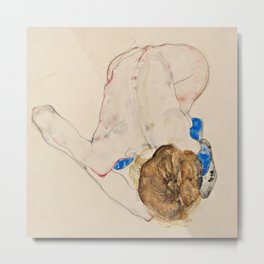 "Egon Schiele ""Nude with Blue Stockings, Bending Forward"" Metal Print"
