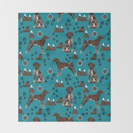 German Shorthair Pointer mountain hiking hiker outdoors camping dog breed Throw Blanket