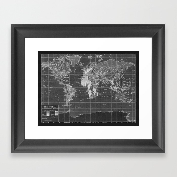 Black and white vintage world map framed art print by black and white vintage world map framed art print gumiabroncs Image collections