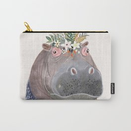 Hippo with flowers on head Carry-All Pouch