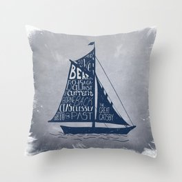 Great Gatsby Hand-Lettered Boat Art Throw Pillow