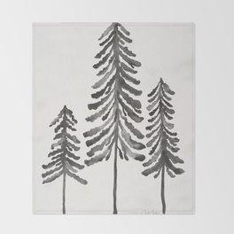 Pine Trees – Black Ink Throw Blanket