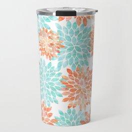 aqua and coral flowers Travel Mug